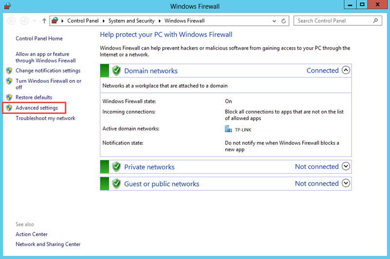 windows firewall advanced settings