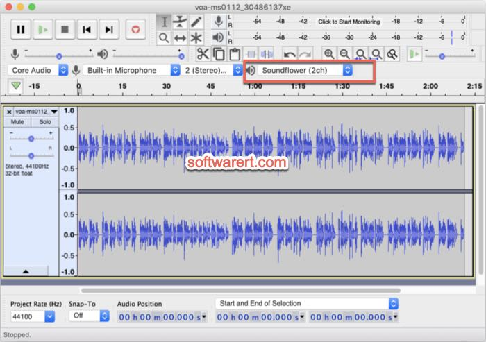 audacity output sound to Soundflower on Mac