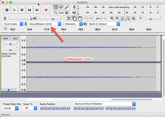 audacity record sound from soundflower on mac
