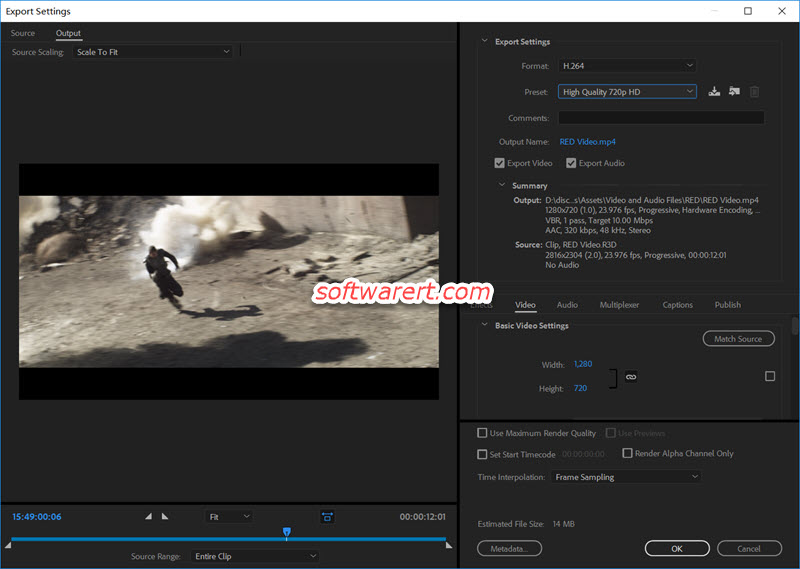 convert RED R3D videos to MP4, H.264 , export settings using Adobe Media Encoder for Windows