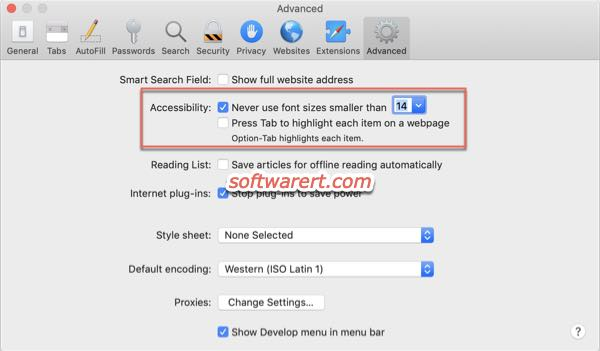 increase font size website pages in safari for Mac