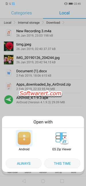 select app to open file with - set default app on huawei phone.