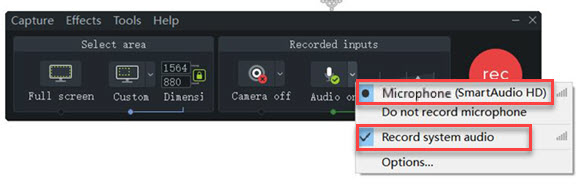 camtasia microphone system audio recording pc