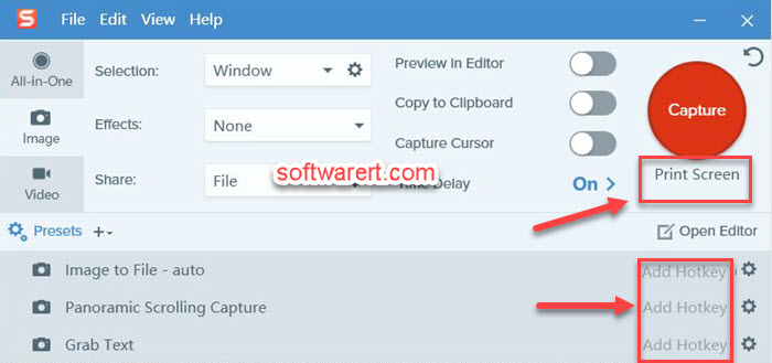 add, set, change capture hotkeys, profile capture hotkeys snagit windows