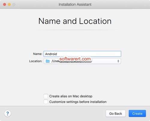 choose name, location for android virtual machine - parallels desktop installation assistant