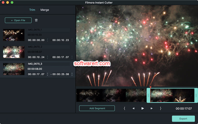 Filmora to split a video into multiple parts, clips on Mac