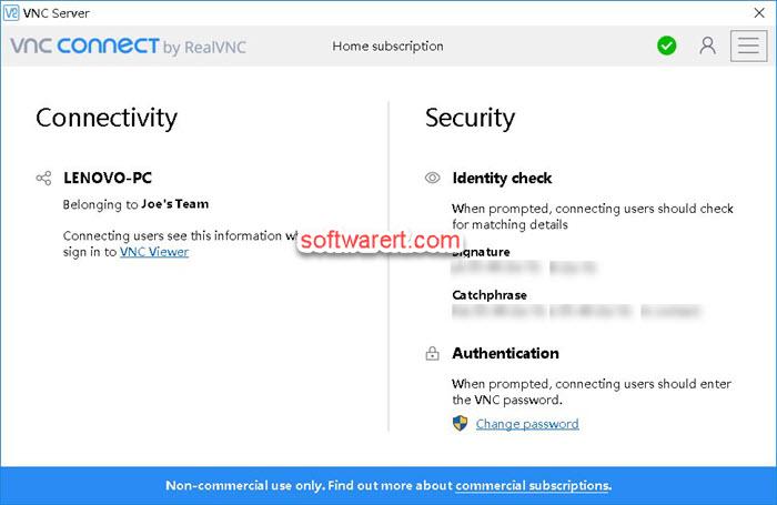 RealVNC VNC server VNC Connect for Windows PC - home subscription