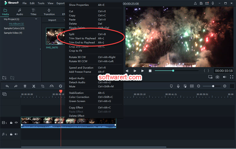 Trim, split video using Filmora video editor