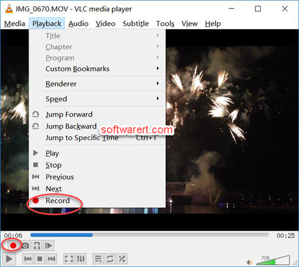 record video playback in VLC media player for Windows