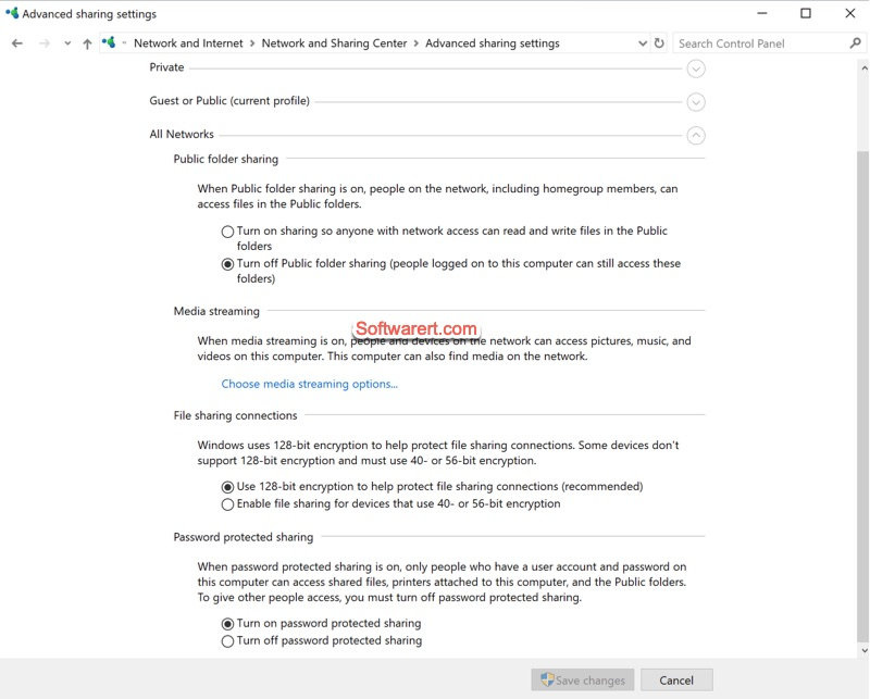 Windows Network and Sharing Center - public folder sharing and password protection
