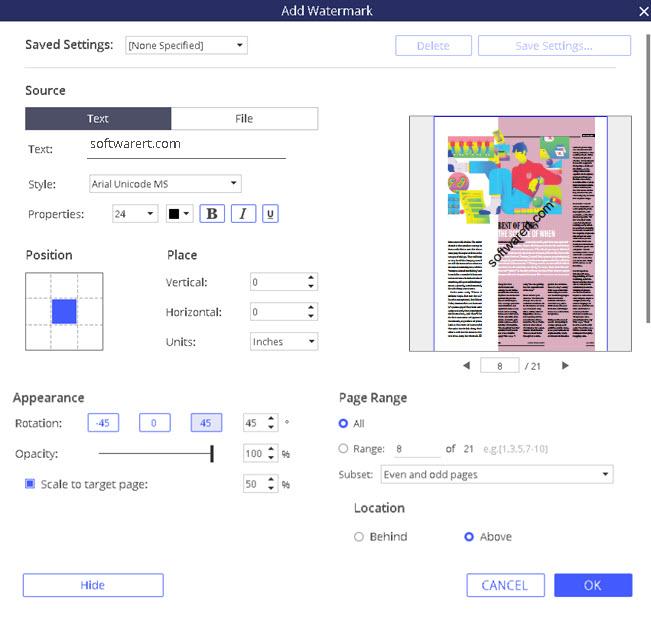 add watermark to pdf - pdf element