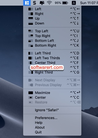 magnet for Mac menu