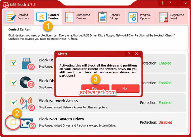 block non-system drives, lock hard drives on Windows computer using USB block