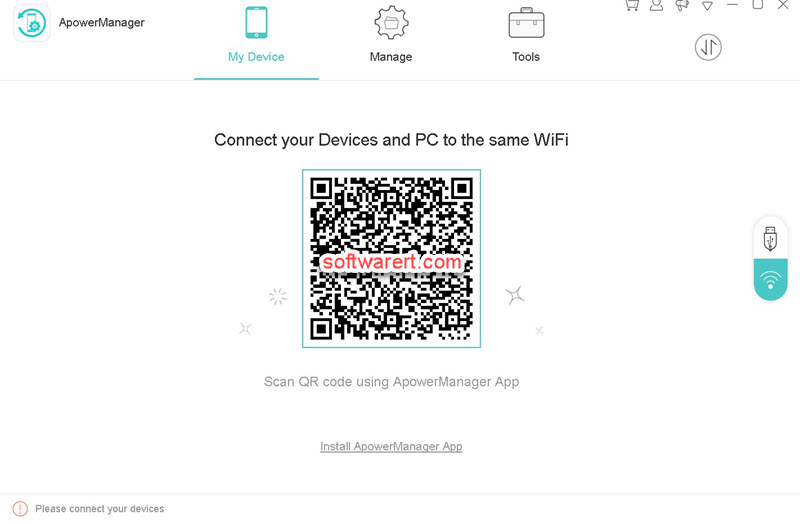 Apower Phone Manager for windows wifi connection with mobile phones