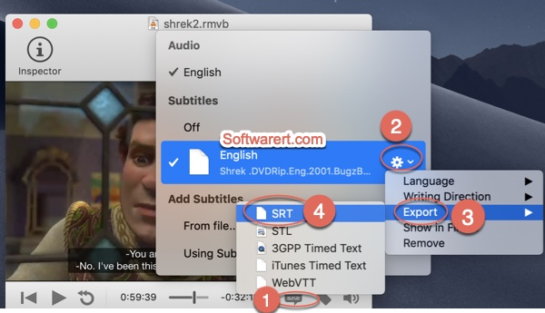 convert subtitles to srt format using submerge app on Mac