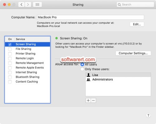 enable screen sharing mac