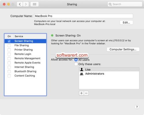 enable screen sharing mac
