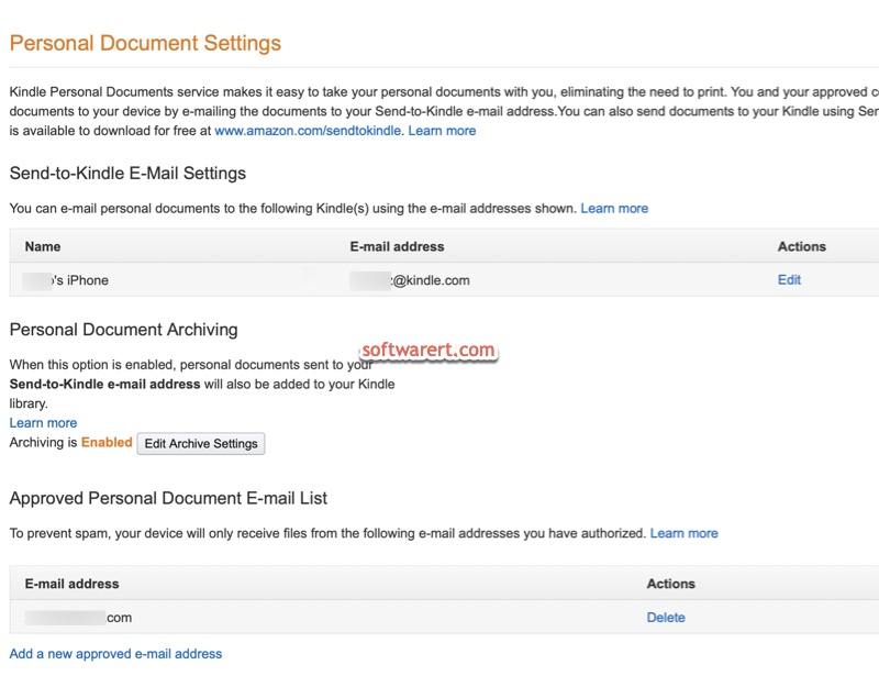 amazon account > manage your content and devices > personal document settings