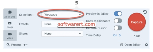 Snagit for Mac - web page capture mode