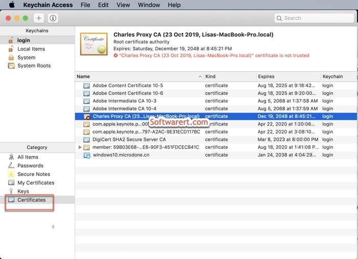 Charles Proxy Certificate not trusted in keychain access on Mac