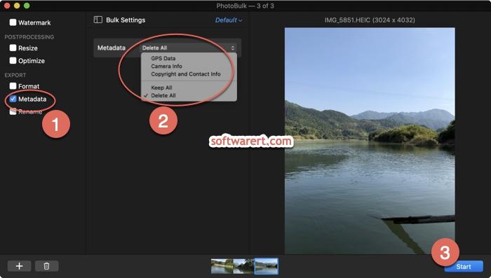 Batch remove photo metadata on Mac using PhotoBulk