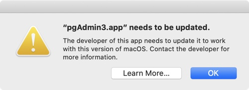 pgadmin3.app needs update - 32 bit app not compatible with 64 bits processor on macos