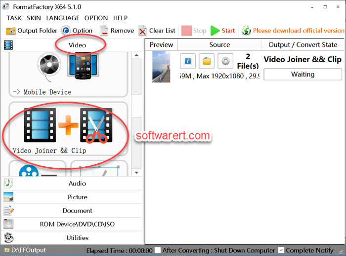 merge videos using format factory video joiner for windows