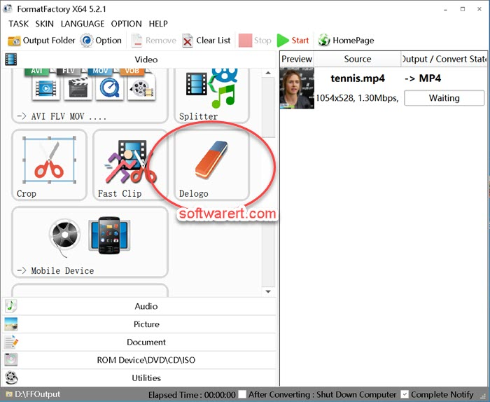 format factory for windows delogo to delete logo, watermark from videos on pc