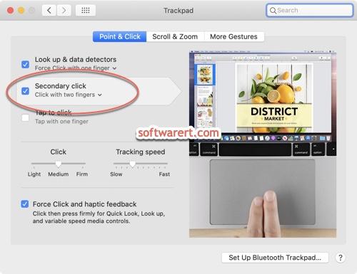 Mac trackpad secondary click