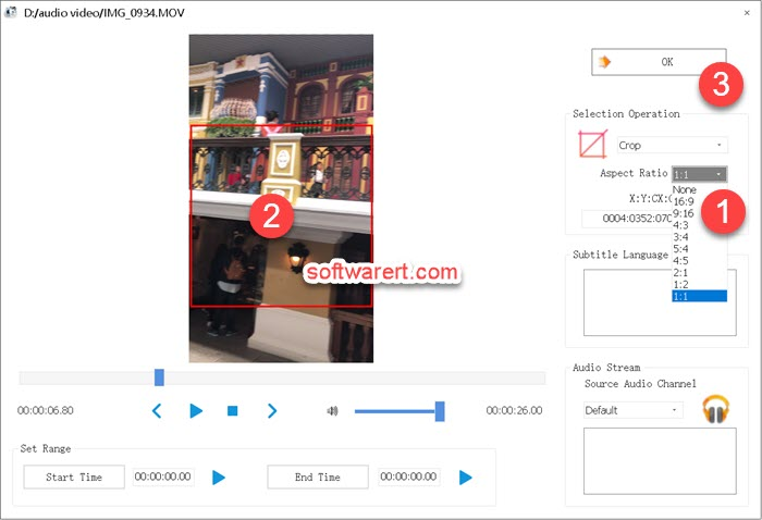 select area to crop from the video using format factory for windows video crop tool