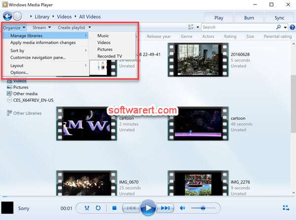 windows media player manage libraries windows 10 pc