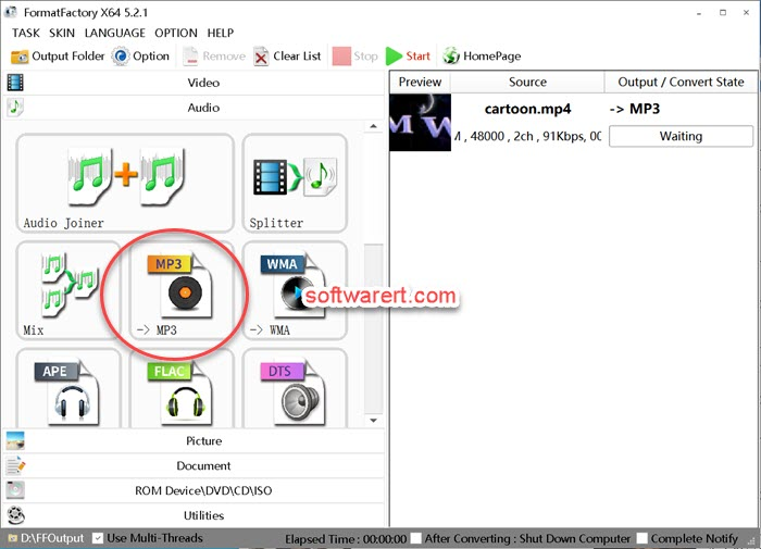 Format Factory mp3 audio converter for windows