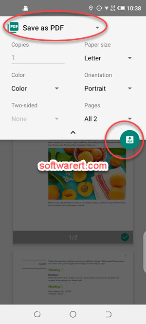 print, save word as pdf using microsoft word for android app on mobile phone