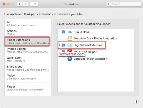 irightmouse enable finder extension from Mac system preferences