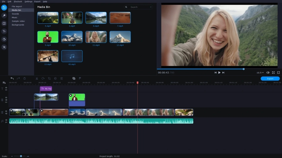 movavi video editor plus for windows main interface