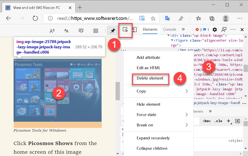 delete web page elment using Inspect tool of microsoft edge browser for windows