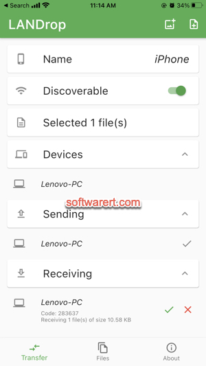 transfer files between iPhone and PC landrop