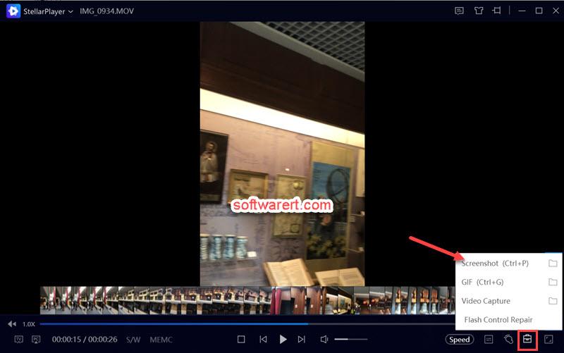 Take a snapshot of a video using Stellar Player on Windows computer