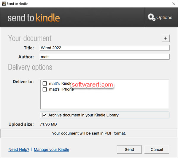 send books, documents from pc to kindle, android, iphone, kindle library using Send to Kindle app