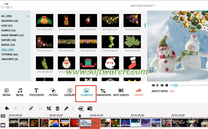 add christmas cliparts to video