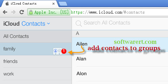 add contacts to groups in icloud