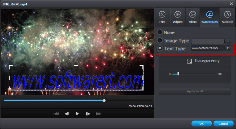 add text watermark to video