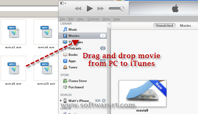 add videos from pc to itunes