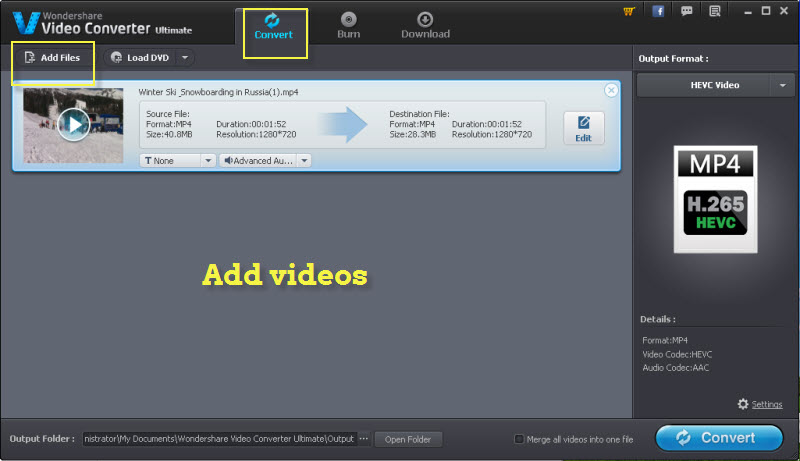 add videos to 4k video converter