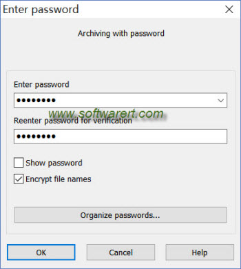 archiving files and folder with password via winrar