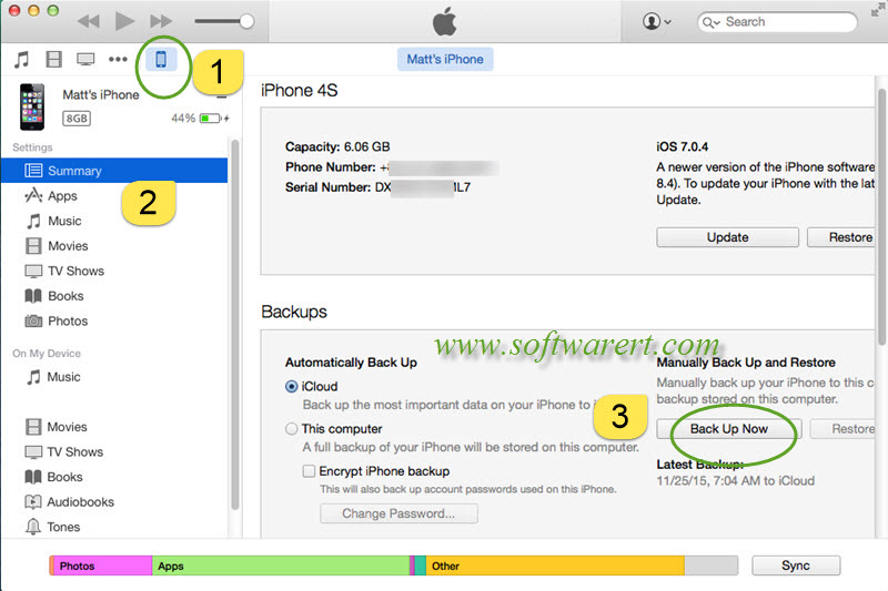 back up iphone to mac via itunes