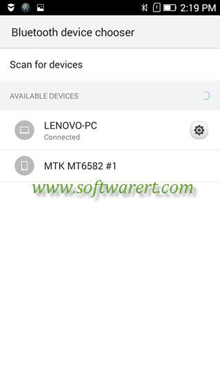 bluetooth device chooser on lenovo mobile phone