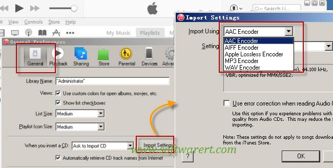change default itunes music encoder on pc