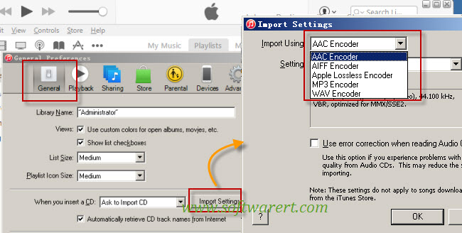 change default itunes music encoder on pc