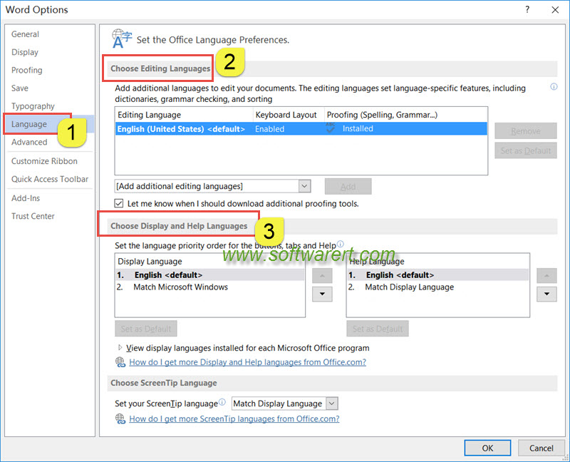 how to set default language in open office